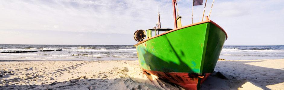 Fischerboot Strand Seebad Heringsdorf Usedom nahe der Wohnung Tusculum in der Villa Hintze